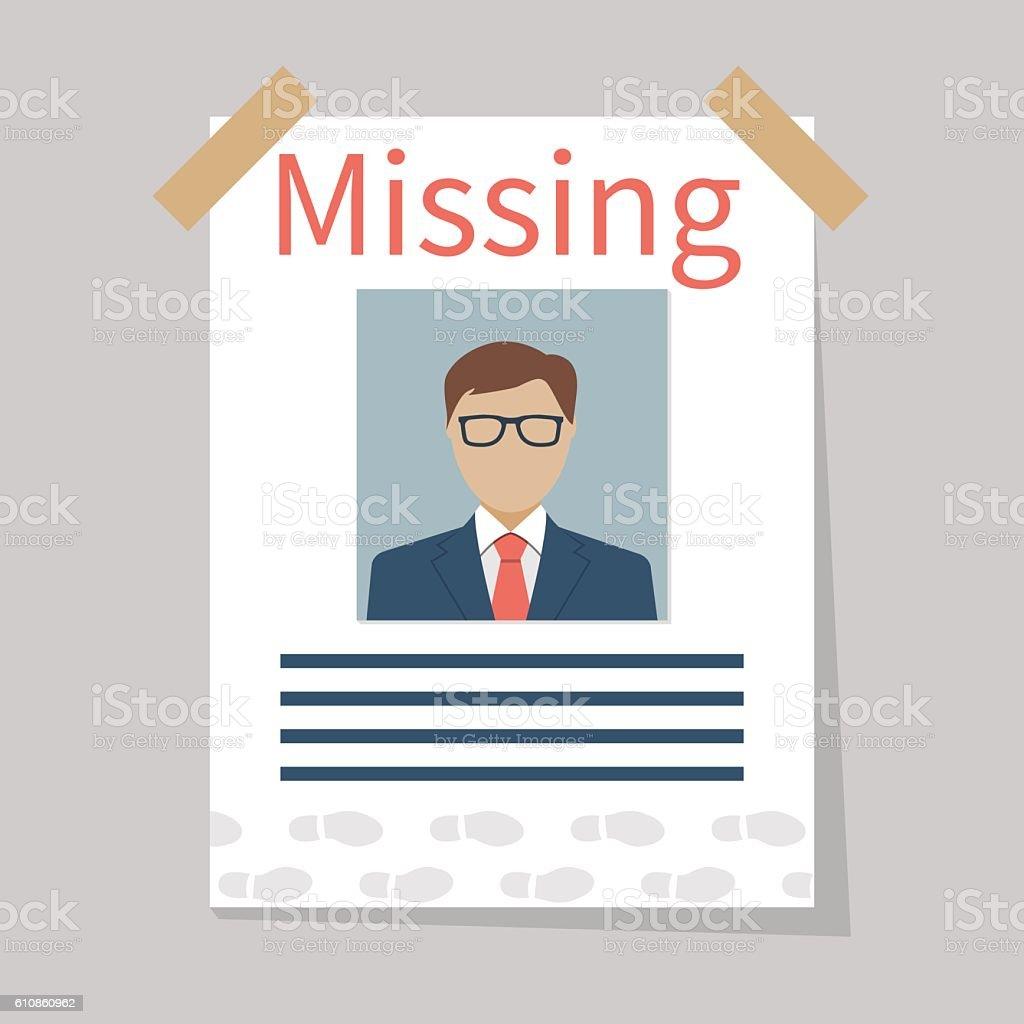 Missing announce. Vector vector art illustration