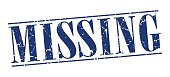 missing blue grunge vintage stamp isolated on white background