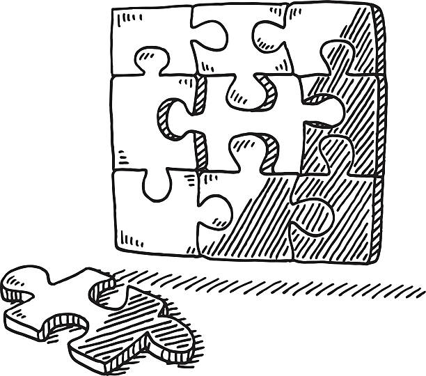 Missing Jigsaw Piece Puzzle Drawing Hand-drawn vector drawing of a incomplete Jigsaw Puzzle and the missing piece. Black-and-White sketch on a transparent background (.eps-file). Included files are EPS (v10) and Hi-Res JPG. game stock illustrations