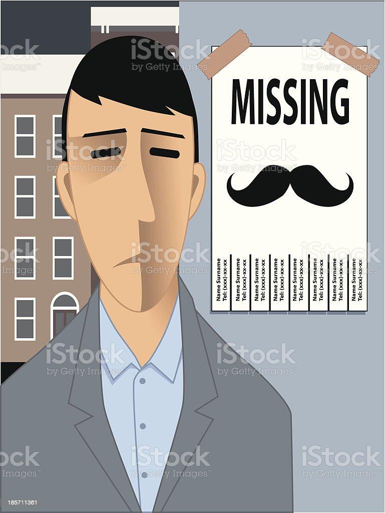 Missing moustache vector art illustration