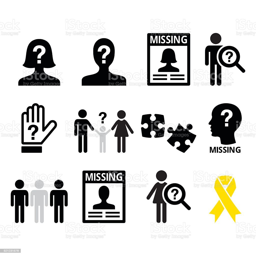 Missing people, missing child icons set vector art illustration