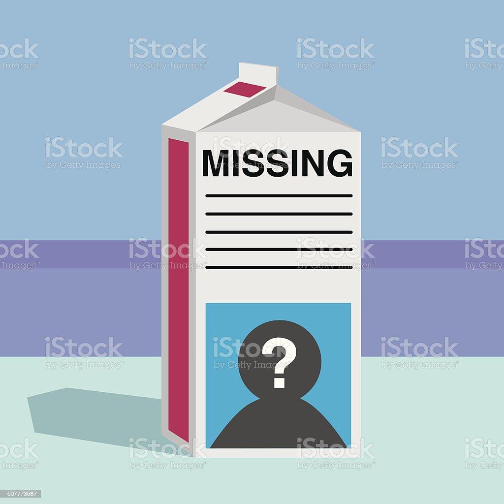 Missing Person Milk Carton vector art illustration