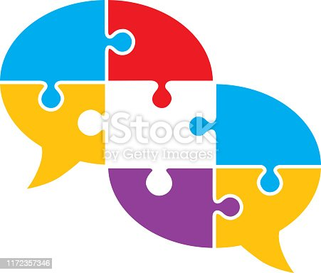 Vector puzzle pieces speech bubble with a missing piece.