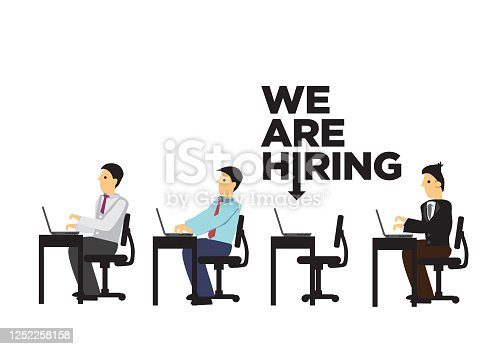 Missing working desk with the copy of We are Hiring! Concept of recruitment or job opportunity. Vector illustration.
