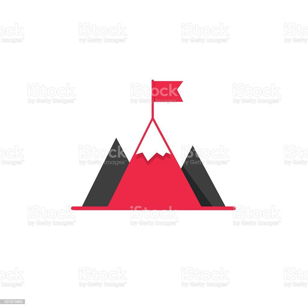 Mission aim achieve icon, success leadership concept vector art illustration
