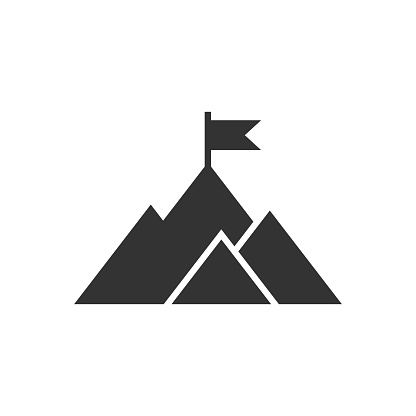 Mission champion icon in flat style. Mountain vector illustration on white isolated background. Leadership business concept.