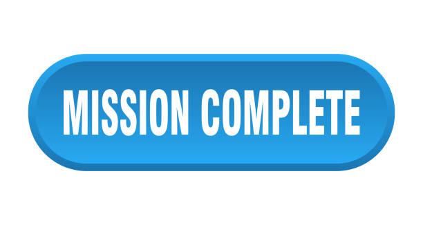 mission komplett-taste. mission komplette abgerundete blaue zeichen. mission abgeschlossen - schlüsselfertig stock-grafiken, -clipart, -cartoons und -symbole