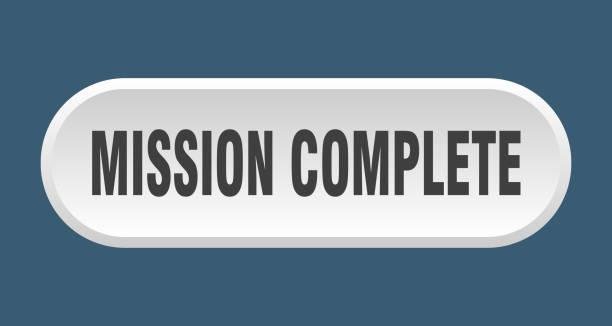 mission komplett-taste. mission komplette abgerundete weiße zeichen. mission abgeschlossen - schlüsselfertig stock-grafiken, -clipart, -cartoons und -symbole