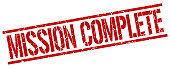 mission complete red grunge square vintage rubber stamp