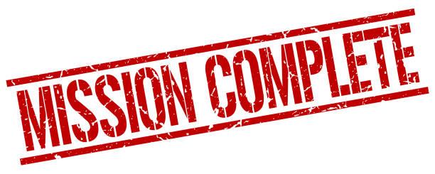 ミッション完了赤グランジ ビンテージ正方形のゴム印 - 終わり点のイラスト素材/クリップアート素材/マンガ素材/アイコン素材