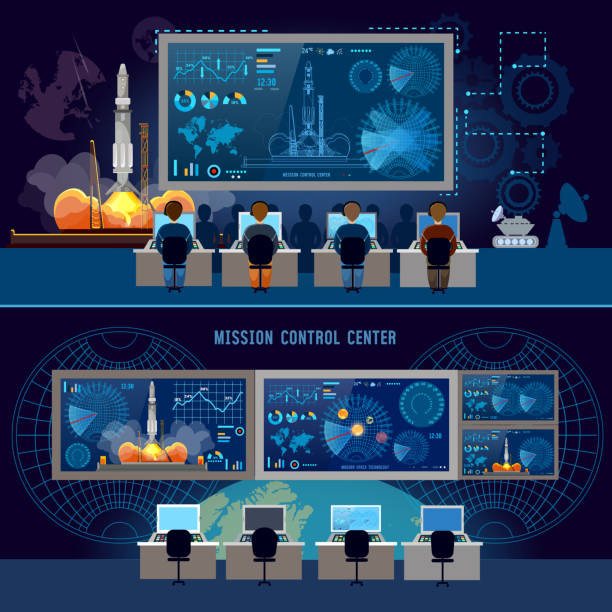 Mission Control Center banner, start rocket in space. Modern space technologies, return report of start of rocket. Space shuttle taking off on mission, spaceport vector art illustration