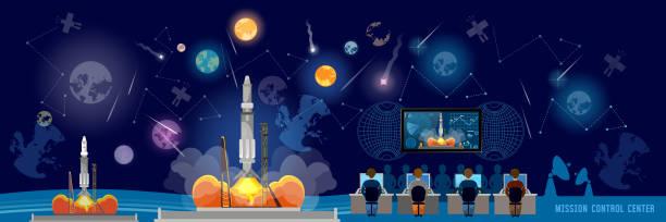 Mission Control Center banner, start rocket in space. Shuttle taking off on mission, spaceport. Modern space technologies, return report of start of rocket vector art illustration