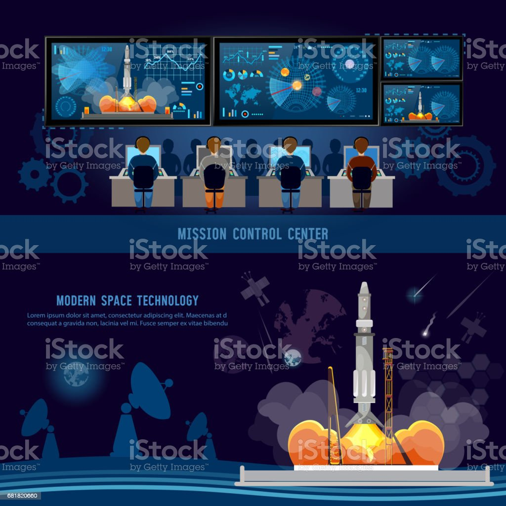 Mission Control Center, start rocket in space. Space shuttle taking off on mission, future spaceport. Modern space technologies, return report of start of rocket vector art illustration