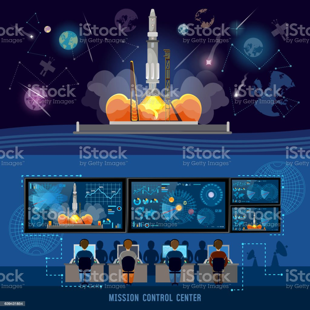 Mission Control Center, start rocket in space vector art illustration