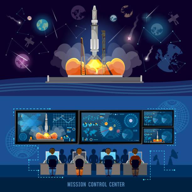 Mission Control Center, start rocket in space vector art illustration