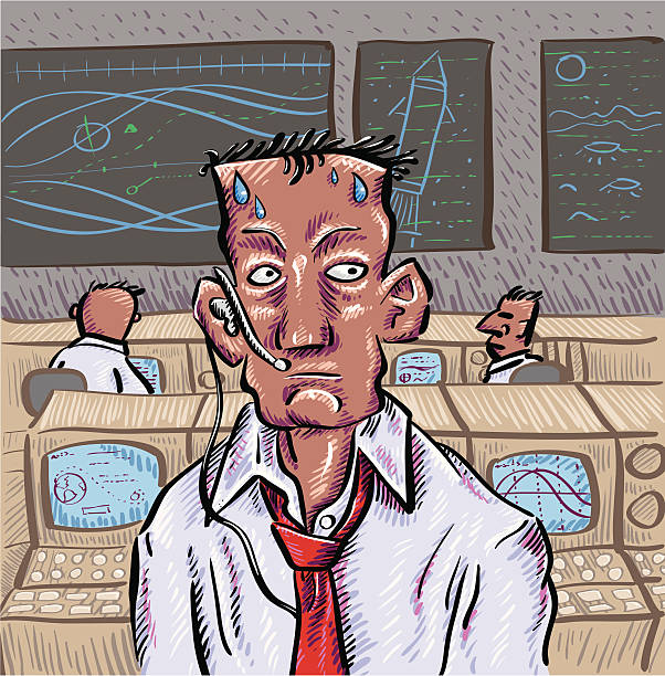 Mission Control Capcom feels the pressure in a retro mission control setting. mission control stock illustrations