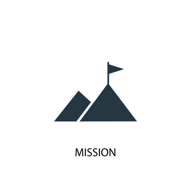 Mission icon. Simple element illustration Mission icon. Simple element illustration. Mission symbol design from Startup collection. Can be used for web and mobile. mountain top stock illustrations
