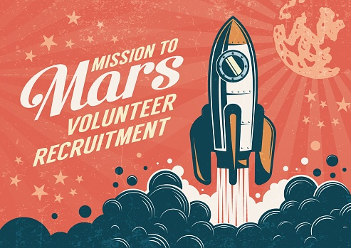 Mission to Mars - poster in retro vintage style