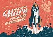 Mission to Mars - poster in retro vintage style with rocket taking off. Worn texture on a separate layer.