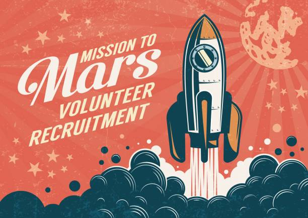 Mission to Mars - poster in retro vintage style Mission to Mars - poster in retro vintage style with rocket taking off. Worn texture on a separate layer. rocket stock illustrations