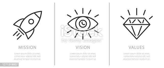 istock Mission, vision and values. Business strategy icons, company value and success rules flat vector illustration 1271319007