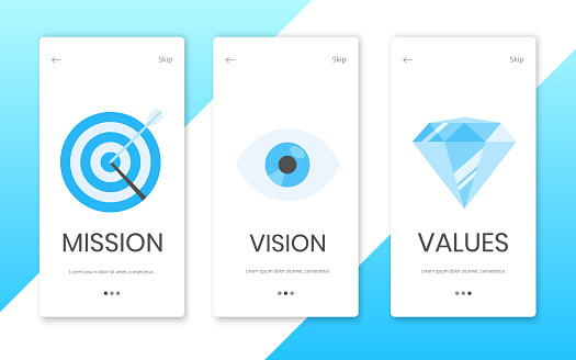 Mission, vision and values flat style design landing page template web concept vector illustration set isolated on white background. Web page concepts for business company strategy and teamwork plan.