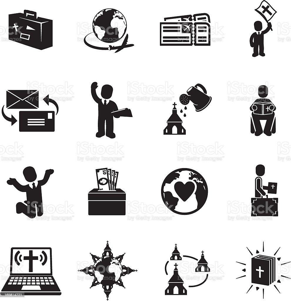 Missionary Icons vector art illustration