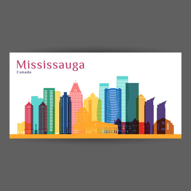 Mississauga city, Canada architecture silhouette. Colorful skyline. City flat design. Vector business card. Mississauga city, Canada architecture silhouette. Colorful skyline. City flat design. Vector business card. mississauga stock illustrations
