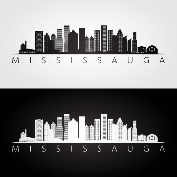 Mississauga skyline and landmarks silhouette, black and white design, vector illustration. Mississauga skyline and landmarks silhouette, black and white design, vector illustration. mississauga stock illustrations