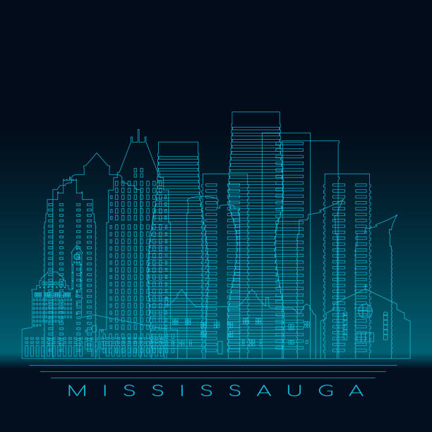 Mississauga skyline, detailed silhouette. Modern vector illustration, blue linear style. Mississauga skyline, detailed silhouette. Modern vector illustration, blue linear style. mississauga stock illustrations