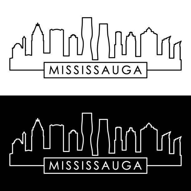 Mississauga skyline. Linear style. Editable vector file. Mississauga skyline. Linear style. Editable vector file. mississauga stock illustrations