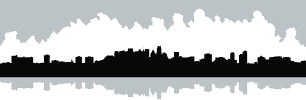 Mississauga Skyline Skyline silhouette of Mississauga, Ontario.  View from Lake Ontario. mississauga stock illustrations