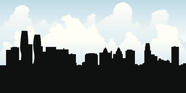 Mississauga Skyline Skyline silhouette of Mississauga, Ontario, Canada. mississauga stock illustrations
