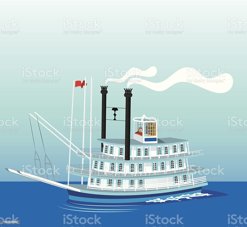 Mississippi and Boat vector art illustration