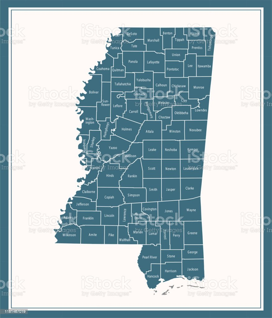 Mississippi Counties Map Printable Stock Illustration Download