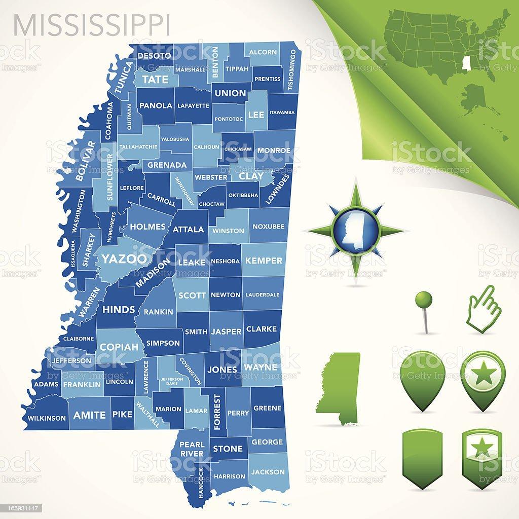 Mississippi County Map vector art illustration