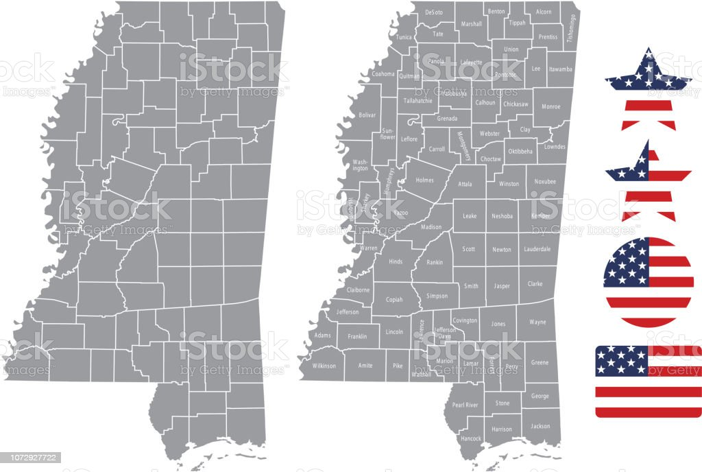 United States Map With County Names.Mississippi County Map Vector Outline In Gray Background Mississippi