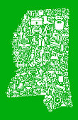 Mississippi Garden and Gardening Vector Icon PatternHeart  Green Medical Rehabilitation Physical Therapy. The medical and rehabilitation icons fill in the main object and form a seamless pattern. The individual icons vary in shade of the red color and scale. They are carefully arranged together and completely fill the outline of the main shape. The icons include such Medical Rehabilitation Physical Therapy icons as medical supplies, first aid kit, people and therapist images and many more icons.