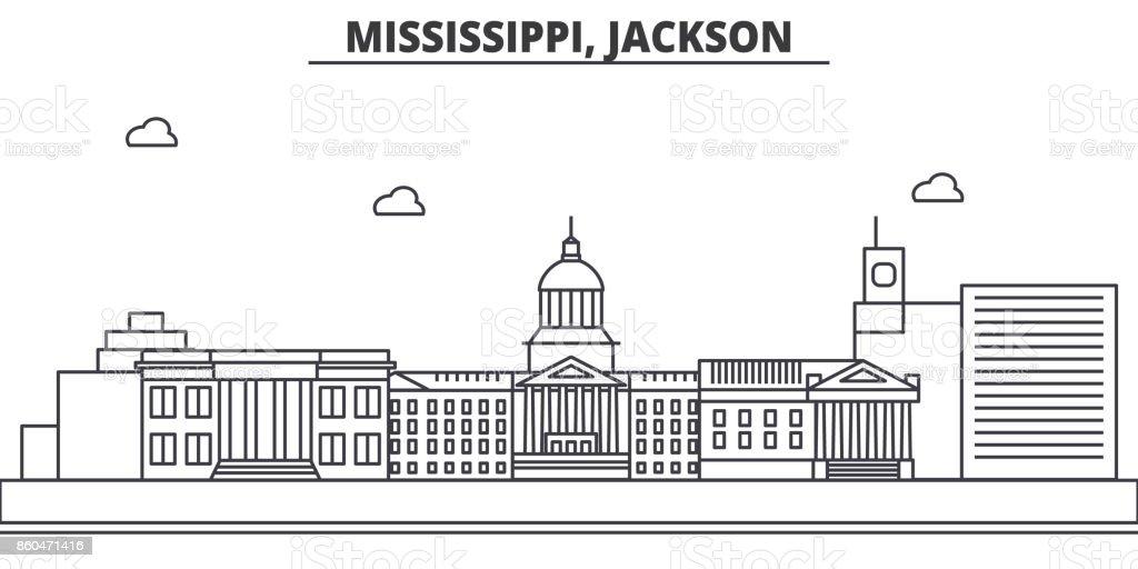 Mississippi, Jackson architecture line skyline illustration. Linear vector cityscape with famous landmarks, city sights, design icons. Landscape wtih editable strokes vector art illustration