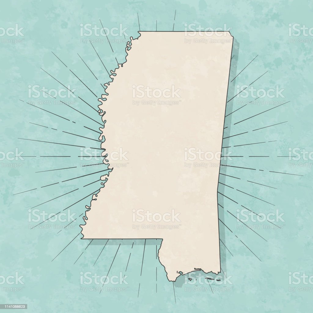 Mississippi Map In Retro Vintage Style Old Textured Paper ...