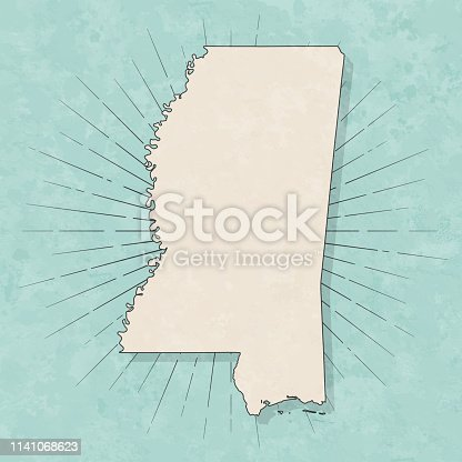Map of Mississippi in a trendy vintage style. Beautiful retro illustration with old textured paper and light rays in the background (colors used: blue, green, beige and black for the outline). Vector Illustration (EPS10, well layered and grouped). Easy to edit, manipulate, resize or colorize.