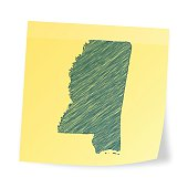 Mississippi map on sticky note with scribble effect
