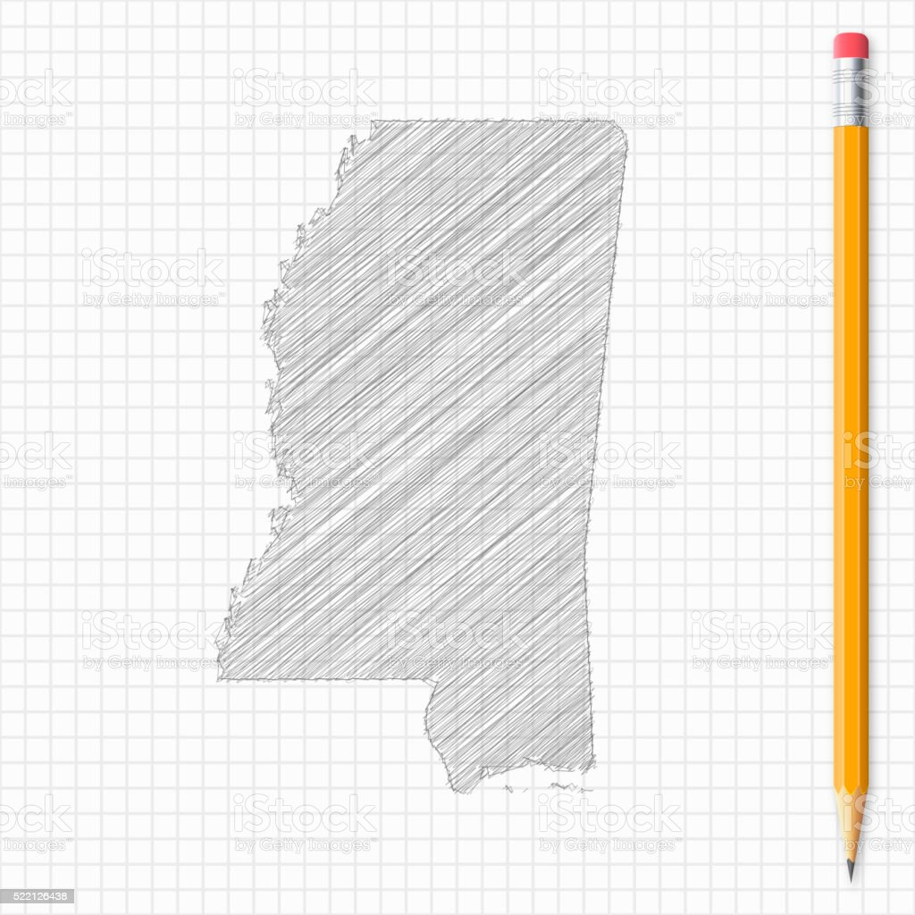 Mississippi Map Sketch With Pencil On Grid Paper Vector Art Illustration