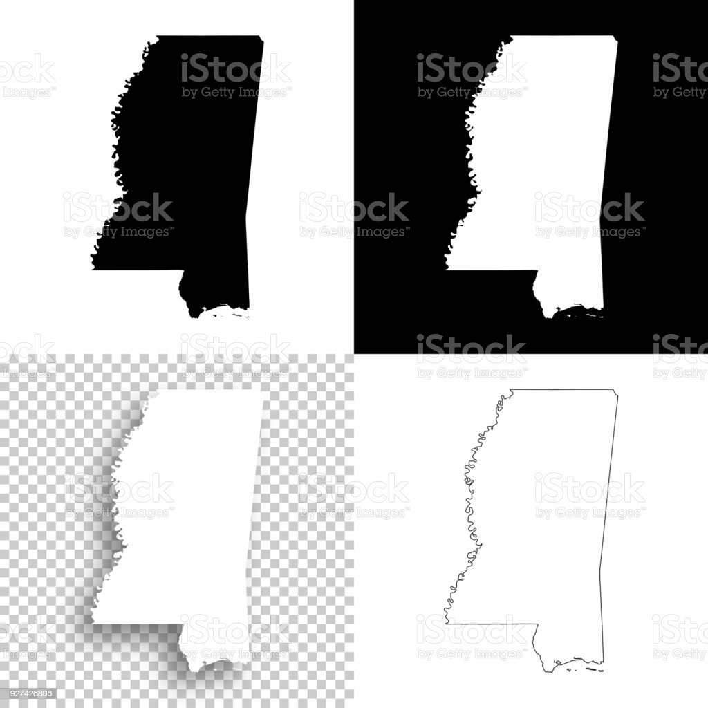 Mississippi Maps For Design Blank White And Black Backgrounds Stock Illustration Download Image Now Istock