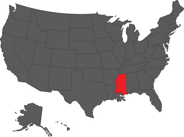 Mississippi State Clip Art Vector Images Illustrations IStock - Mississippi on map of usa