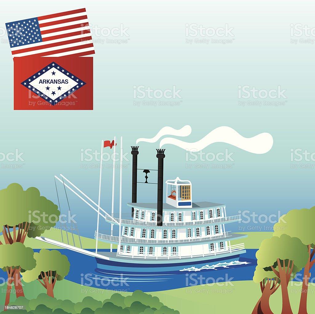 Mississippi River and Boat vector art illustration