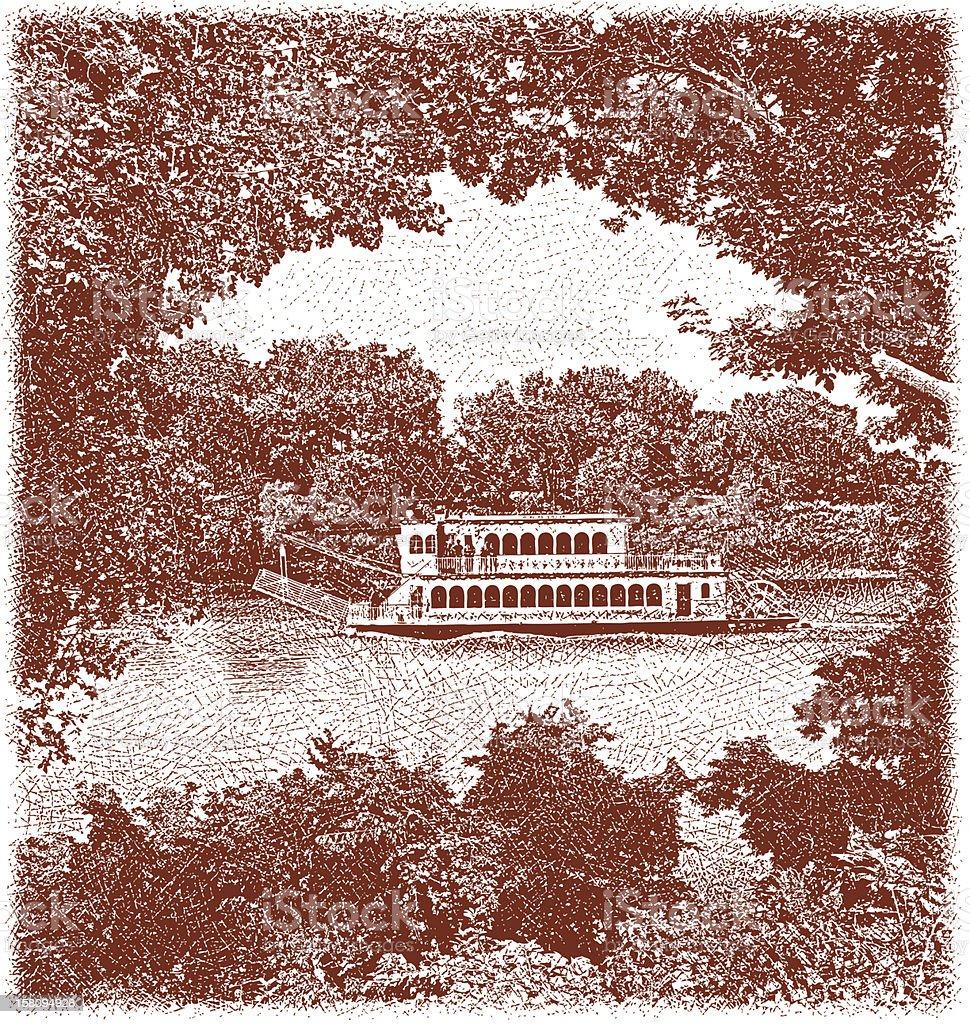 Mississippi River Paddleboat vector art illustration
