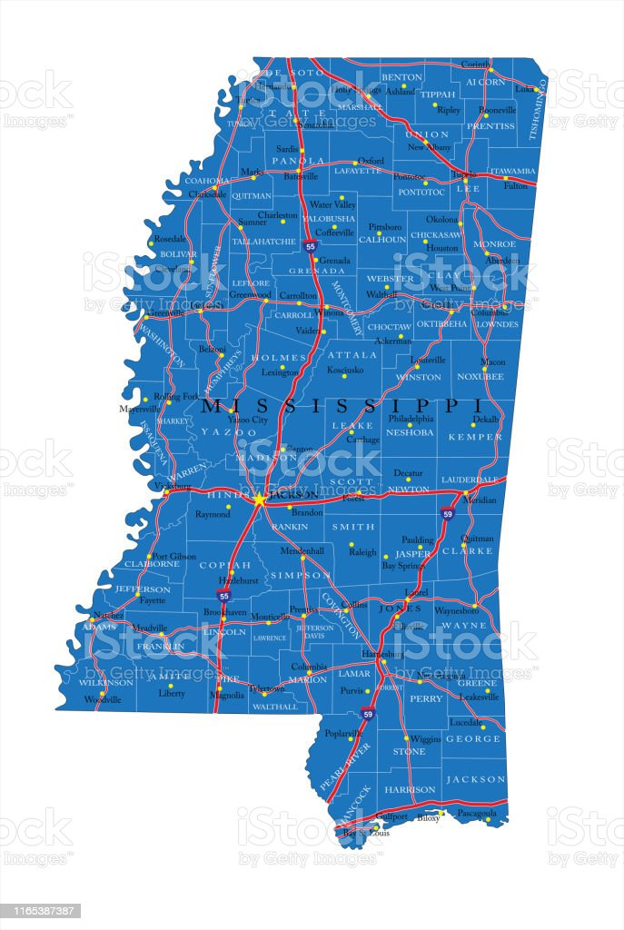 Mississippi Road Map Stock Illustration Download Image Now Istock