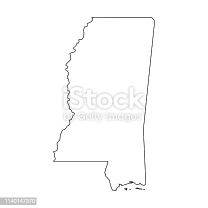 istock Mississippi, state of USA - solid black outline map of country area. Simple flat vector illustration 1140147370