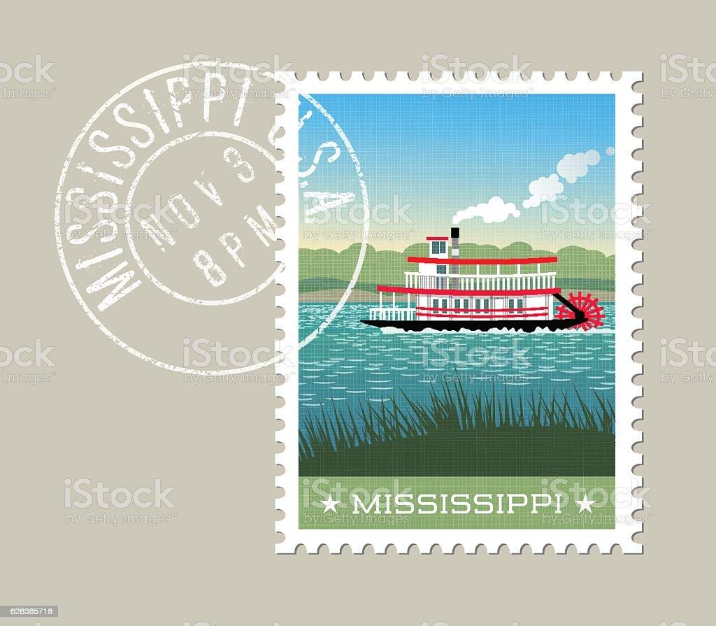 Mississippi steamship paddle boat on the river. vector art illustration